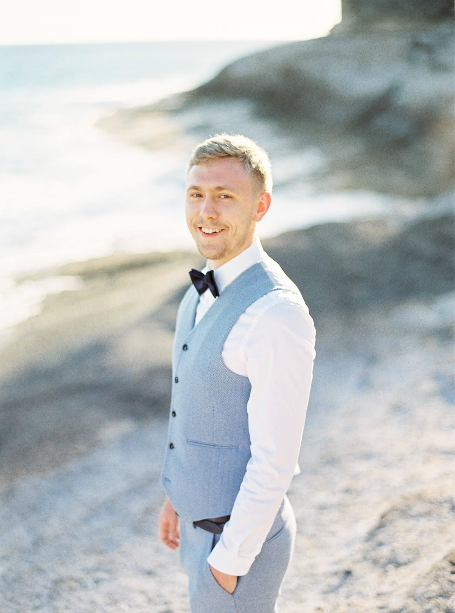 portrait of a groom film wedding photographer in Tenerife Spain