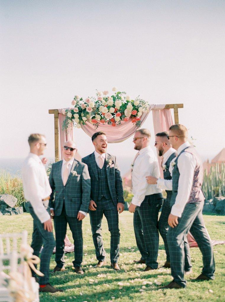 groom with groomsmen on wedding
