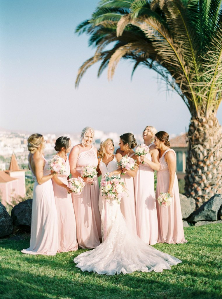 bride with bridesmaids in Tenerife