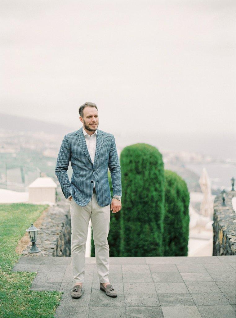 groom on a wedding day in a villa in Tenerife