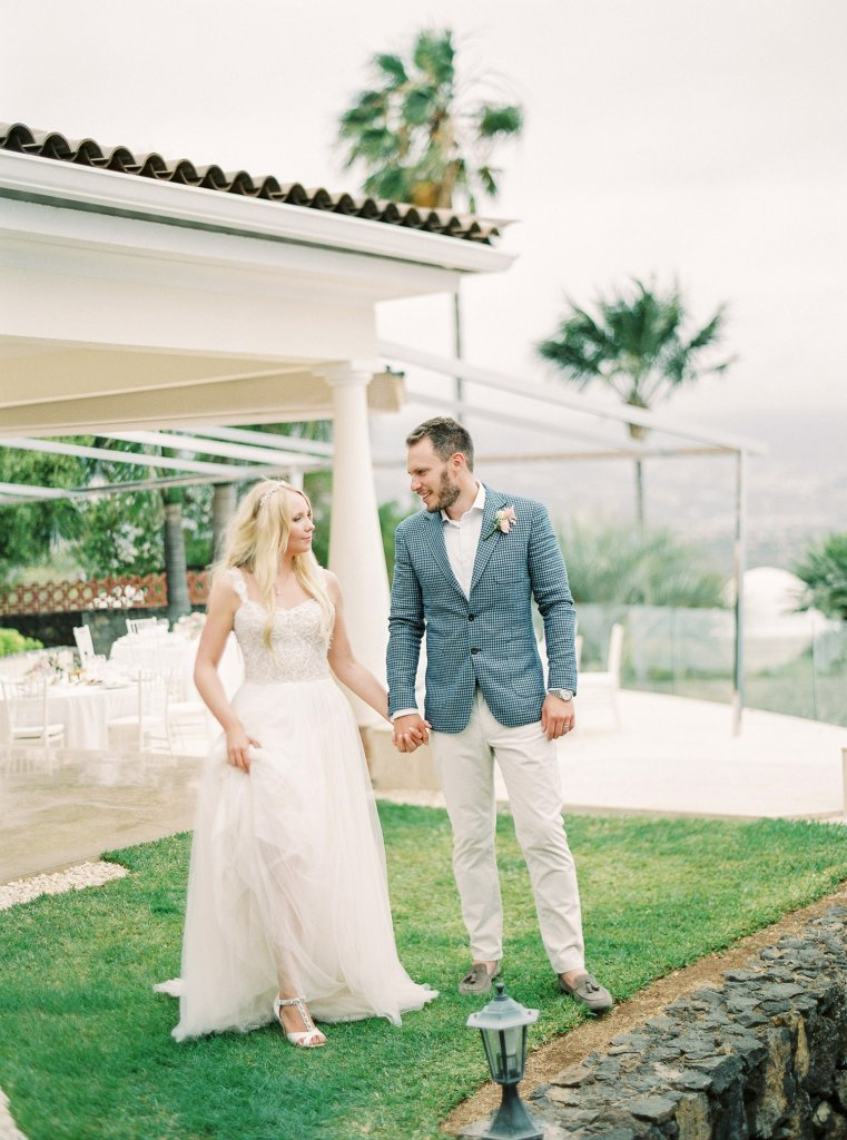 bride and groom on a wedding day in Tenerife