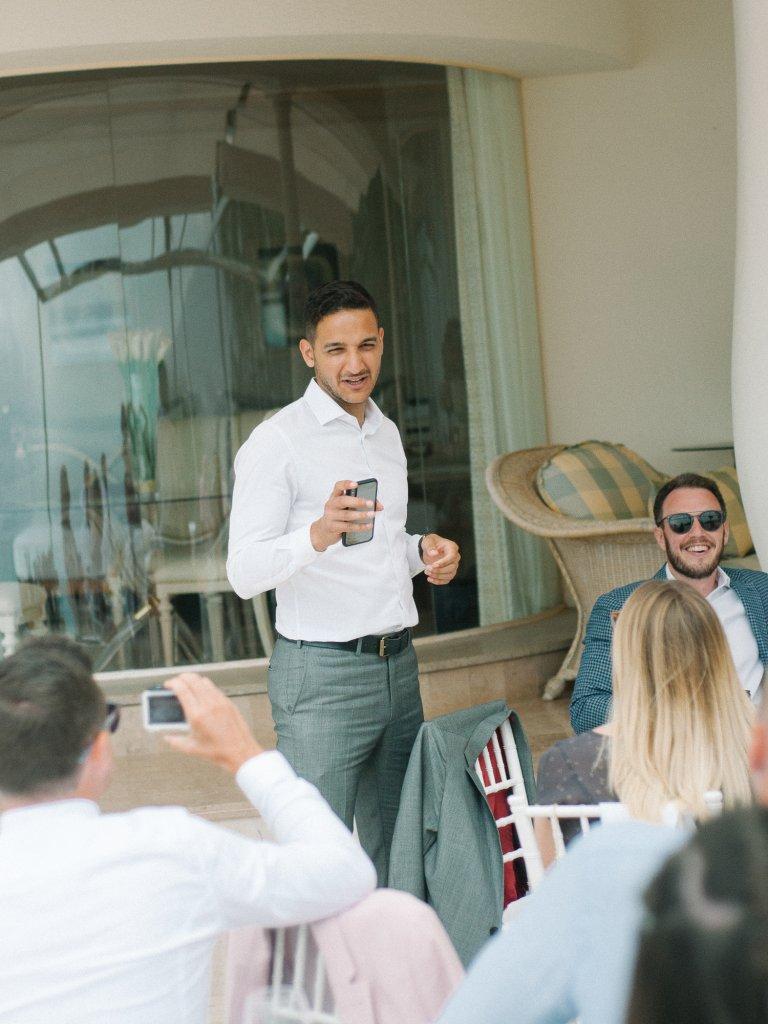 grooms friends on wedding in Tenerife